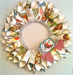 Vintage paper wreath. :: Cindy http://www.feminagirls.com/wp-content/uploads/2010/12/wreath1.jpg