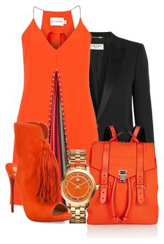 """Orange"" by ashola18 ❤ liked on Polyvore featuring Yves Saint Laurent, Mary Katrantzou, Proenza Schouler, Tory Burch, Christian Louboutin, Spring, black, orange and saintlaurent"