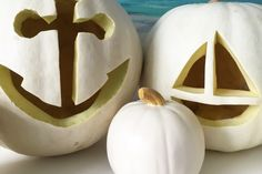 Pumpkin carving idea: If ghosts and skeletons aren't your style, these nautical white pumpkins are the Halloween craft for you. Stylish and sophisticated! Photo by Sarah Gunn.