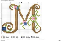 """""""Liberty"""" Monogram with Small Flowers Cross Stitch Pattern Alfabeto liberty: M Cross Stitch Letters, Cross Stitch Samplers, Cross Stitch Charts, Cross Stitching, Cross Stitch Embroidery, Embroidery Patterns, Cross Stitch Tutorial, Plastic Canvas Patterns, Fancy Letters"""