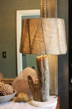 Coastal Charm: More Fun With Driftwood~ a driftwood lamp. So pretty!