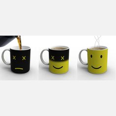 Love this - sad face transformed into smiling face after coffee is poured in. Monday Mug from Fab.com