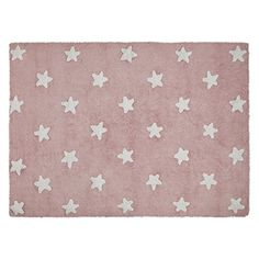 PROMOTION – Tapis de sol enfant 120×160 cm Rose étoiles blanches