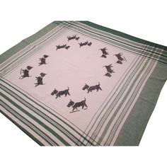 Scottie Dog Tablecloth Vintage 1950s Green Plaid Embroidery Cross Stitch Linen Was $24 - Now $20 http://www.rubylane.com/item/676693-CLL148/Scottie-Dog-Tablecloth-Vintage-1950s-Green