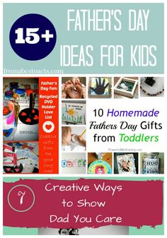 Over 15 Father's Day ideas for kids from the weekly Mom's Library resource link up. Get the kids involved and show Dad you care with a few homemade gifts.