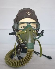 Air Force MIG-15 Fighter Pilots Flight Helmet,Oxygen Mask,Flight Gogggles