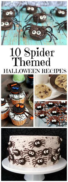 10 spider-themed Halloween recipes : these are CUTE spider recipes (not scary), so they're perfect for a kid's Halloween party recipe.  You'll find spider cookies, spider cupcakes, spider donuts, spider eggs, spider cake and more!