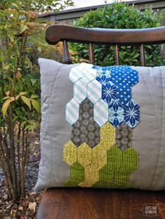 English Paper Pieced Pillow from the Travellin' Stitch Blog Hop