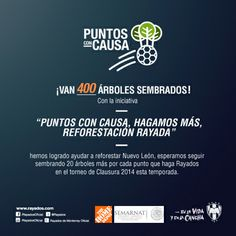 Ya son 400 árboles sembrados. Iniciativa 'Puntos con Causa, Hagamos Más, Reforestación Rayada' #ESR. #Rayados