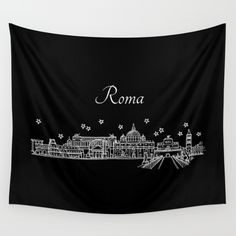 Roma (Rome), Italy City Skyline Wall Tapestry