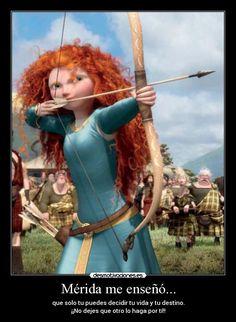Merida | carteles valiente disney princesas merida destino vida desmotivaciones