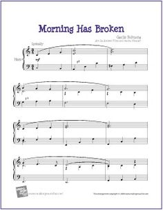Morning Has Broken | Free Sheet Music for Harp - http://www.makingmusicfun.net/htm/f_printit_free_printable_sheet_music/morning_has_broken_harp.htm