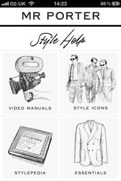 http://MRPORTER.COM, the global online destination for men's style, is delighted to introduce the new Style Help app.   http://itunes.apple.com/us/app/mr-porter-style-help/id481673241?mt=8    Disclosure: I am a mobile developer at NetAPorter and I developed the app.