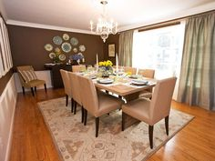 Traditional | Dining Rooms | Sabrina Soto : Designer Portfolio : HGTV I think what I love most about this space is the use of accessories. The plates the chandelier, and the pillow on the chair keep drawing my eye into the space.