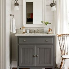 Bathroom: wood plank walls. Very cute,really like the vanity and lights