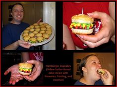 Hamburger Cupcakes!! I WILL be making these for a summer party/bbq. :)