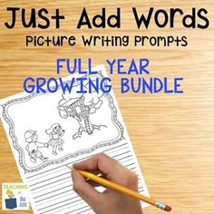 Picture Writing Prompts for the Entire Year!  This Just Add Words bundle will give you the perfect writing center for your elementary classroom.  The consistency of the activity allows your students to be independent.  Picture writing prompts help your reluctant writers get started.  Set includes primary and single writing lines for use with many different grades and handwriting abilities.
