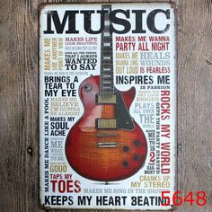 "SIGNS VINTAGE ""MUSIC LOVERS"" METAL, AND DIFFERENT SLOGANS WALL STICKERS, MOVIE POSTER, HOME DECOR, GARAGE, CAFE, BAR 20X30 CM FREE SHIPPING USA"