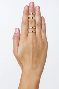 Couples Repeat Gold Ring Set - double-bands stacks above and below the knuckle