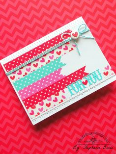 Washi tape and twine card. Doodlebug Lovebird Collection by Stephanie Buice Washi Tape Cards, Washi Tape Diy, Washi Tapes, Masking Tape, Paper Cards, Diy Cards, Tarjetas Diy, Beautiful Handmade Cards, Tape Crafts