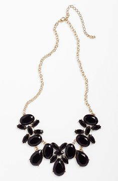Black Stone Statement Necklace