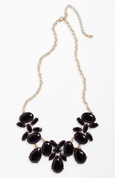 Black Stone Statement Necklace
