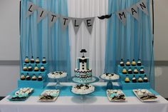 Little Man Baby shower theme Lil Man Baby Shower, Angel Baby Shower, Boy Baby Shower Themes, Baby Shower Parties, Blue Party Decorations, 1st Birthday Decorations, Baby Shower Decorations, Boys First Birthday Party Ideas, Baby Boy First Birthday