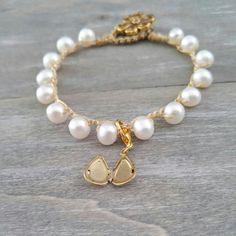 Pearl bracelet with dainty locket charm, crochet bracelet with golden flower button Pearl Bracelet, Pearl Jewelry, Beaded Bracelets, Bridesmaid Bracelet, Bridesmaid Gifts, Mother Gifts, Gifts For Mom, Flower Button, Golden Flower
