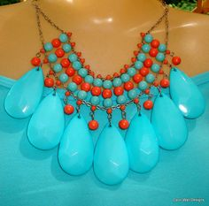 Turquoise and Coral statement necklace by Carol Wall on ETSY aqua and orange bib necklace  FREE SHIPPING on Etsy, $28.00