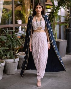 Indo western Outfit - Dhoti pants, blouse and a lovely contrasting coloured cape from Payal Singhal collection Western Dresses, Western Outfits, Indian Dresses, Indian Outfits, Indian Look, Indian Wear, Indian Style, Desi Clothes, Indian Clothes