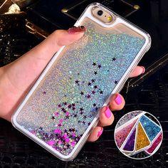 Para o caso do iphone 6 glitter bling estrela de areia de areia movediça líquido claro duro caso para caso iphone 6 s 4S 5c 5S 6 mais 7 mais acessórios