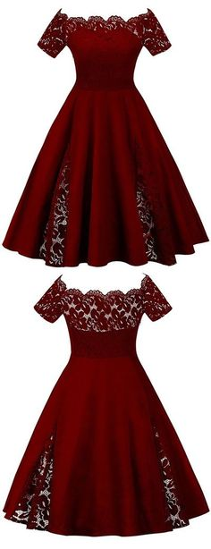Elegant Burgundy Lace Homecoming Dress,Off Shoulder Short Sleeves Prom Dress,Custom Made Plus Size Homecoming Dress