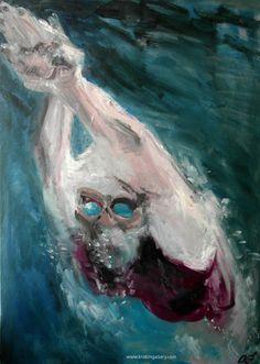"Artist Olga Gorokhova ""Swimming woman"" oil painting on canvas. Moscow, Contemporary Art, Art Gallery, Swimming, Oil, Woman, Canvas, Artist, Painting"