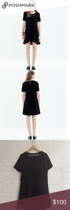 """Madewell black folio dress 8 No need to mess around with separates—this sophisticated textured dress combines the look of a two-piece with the ease of a one-piece. A quick (and completely stylish) seasonal party solution.  True to size, nonwaisted. Falls 34 1/4"""" from shoulder. Poly. Pockets. Dry clean. Import. Madewell Dresses Mini"""