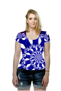 By Rosemarie  Weidmann, OArtTee specializes in creating amazing, vibrant and colorful Wearable Art #NavyandWhite #Spirals #T-shirt
