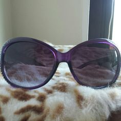 Purple Crystal Sunglasses Transparent purple frames embellished with white crystals and silver scrollwork  Brand new, unworn. Accessories Sunglasses