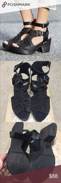 """Free People Sacramento Clogs By Free People. Brand new, never worn. Black color. Has a slouchy suede cuff, wood-grained platform, and smooth leather ankle strap. 3 1/4"""" heel; 1"""" platform. 4 1/4"""" ankle strap height. Adjustable straps with buckle closure. Leather upper and lining/rubber sole. I'm an 8.5-9 and these 39 fit great. Spent $178 on these beauties, but now I want a different style I'm more in love with! 🙊 Price includes shipping, cross posted. Free People Shoes"""