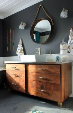 cabinetry idea but not the countertop, note gray slate flooring; American Walnut bathroom vanity with stainless steel counters and white vessel sink. Bad Inspiration, Bathroom Inspiration, White Vessel Sink, Master Bathroom Vanity, Master Bedroom, Small Bathroom, Black Bathrooms, Navy Bathroom, Downstairs Bathroom
