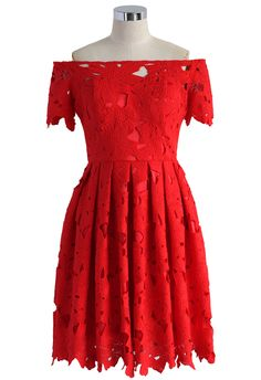 Full Flower Cut Off-shoulder Red Dress - New Arrivals - Retro, Indie and Unique Fashion