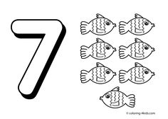7 numbers coloring pages for kids, printable free digits coloring books