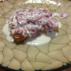 Creamed Chipped Beef On Toast aka dried beef aka S on S. I loved this as a kid, still ask my mom to make it when I go home.  I get so excited when I go home to Jersey and see it on the menu.  YUM!
