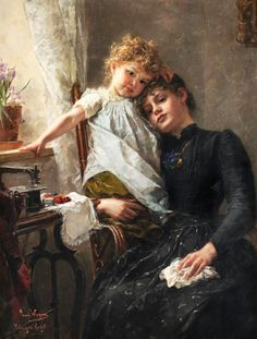 Paul Hermann Wagner (German painter) 1852 - 1937  The little Seamstress (aka Consolation In Suffering), s.d.  oil on canvas  110.5 x 84 cm. (43.5 x 33.1 in.)