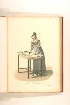 Repasseuse from Georges-Jacques Gatine, Costumes d'ouvrières parisiennes, BNF Paris. The way her Fuchs is pinned is interesting Regency Dress, Regency Era, Jane Austen, Old Magazines, Empire Style, Fashion Plates, 19th Century, Vintage Fashion, Retro Fashion