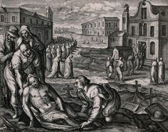 A male corpse is wrapped in linen and entombed while a funeral cortège proceeds into a church in the background, early 1600s.