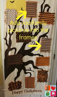 "@havingfunsaving ""The Halloween Photo Door Hanging is the perfect way to turn your Halloween photos into decor you'll love displaying year after year! You can update your not-so-scary family tree each year with the latest pictures of the kids in their costumes and your favorite family moments..."""