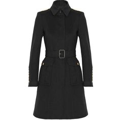 Burberry London Wool and cashmere-blend coat (11,960 MXN) ❤ liked on Polyvore featuring outerwear, coats, jackets, coats & jackets, black, burberry, woolen coat, burberry coat, wool cashmere blend coat and black coat