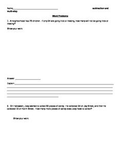 This is a worksheet that contains two word problems. The first one is subtraction. The second one is multi-step. There are boxes available for students to show their work. The theme on this worksheet is Halloween.