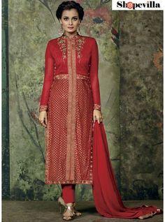 Dia Mirza Red Georgette Salwar Kameez Suit-2001