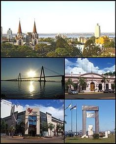 (From top to bottom; from left to right) Panoramic view of the city; San Roque Bridge; Misiones Government House; Posadas Plaza Shopping and Monument to Malvinas.