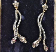 4ct Georgian Rose Cut Diamond Snake Earrings Circa 1800'S